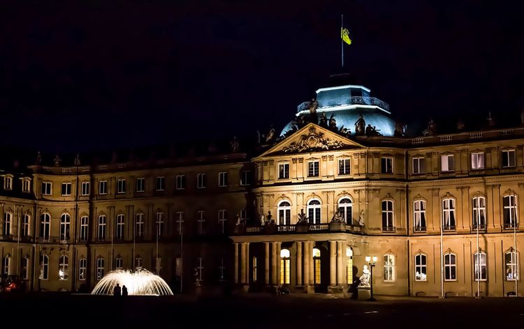 Night Illuminated Architecture Government City No People Building Exterior Outdoors Neues Schloss Neues Schloss Stuttgart Schlossplatz Stuttgart Landeshauptstadt Nightphotography Bigcitylife Monument City Castle