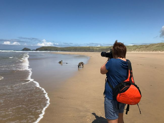 Rear View Real People Leisure Activity Nature One Person Scenics Outdoors Lifestyles Water Camera Bag Zoom Lens Dogs Photographer Cornwall Beach Dog Lover Calm Landscapelovers happy snapper Investing In Quality Of Life Getting Time To Do What I Like Second Acts One Step Forward