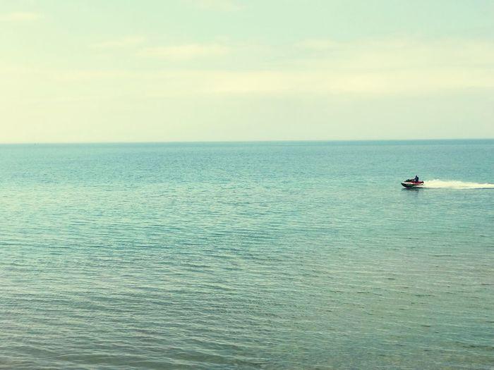 Riding the calmness Lake Huron, Canada Sea Nautical Vessel Sky Horizon Transportation Jet Boat Scenics - Nature Tranquility