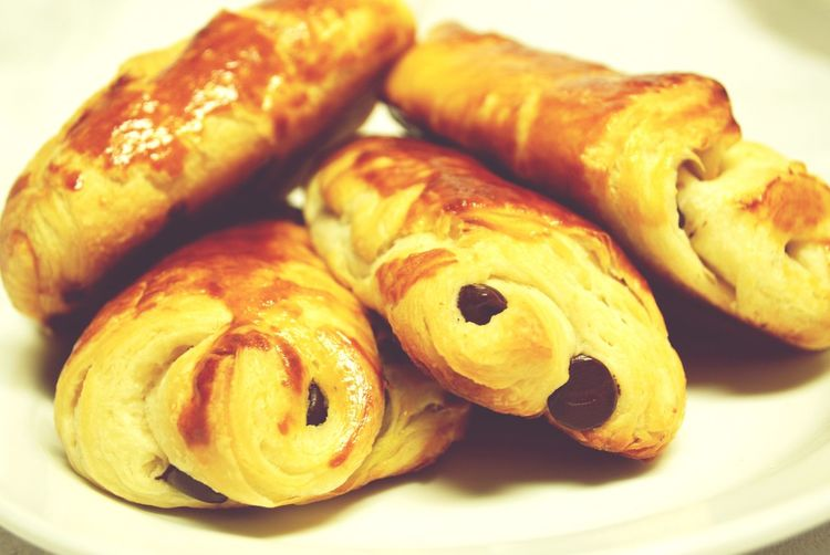 My World Of Food Homemade Pains Au Chocolat Chocolate Croissant Baking Food Croissants Served On Plate Table Temptation