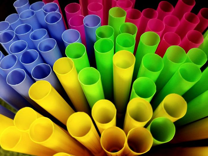 Full frame shot of colorful drinking straws