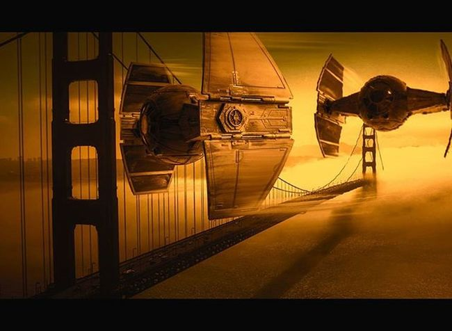 """Sundowners"" Instaphoto Photowall Compositing Photooftheday Digitalart  Instaphoto Starwars LucasFilm Tiefighter Scifi Sundown Sanfrancisco Golden Goldengate FlyBy"