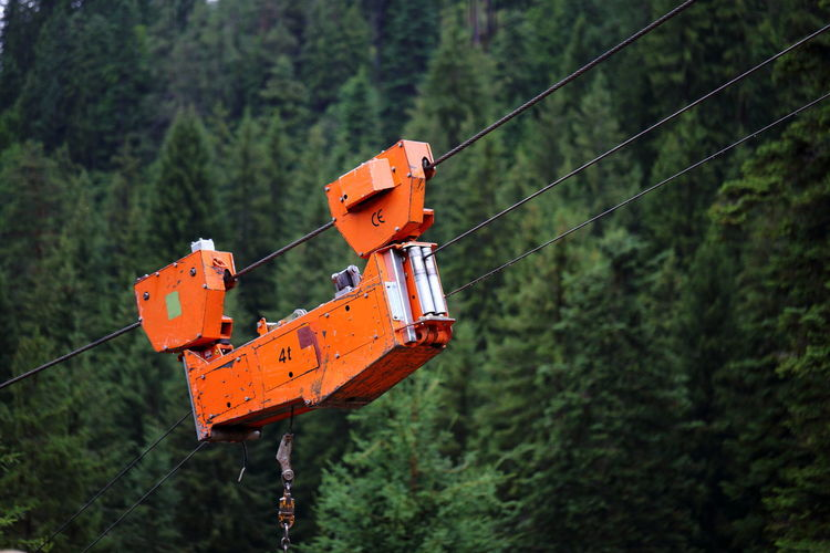 Close-up of forestry industry tree lift