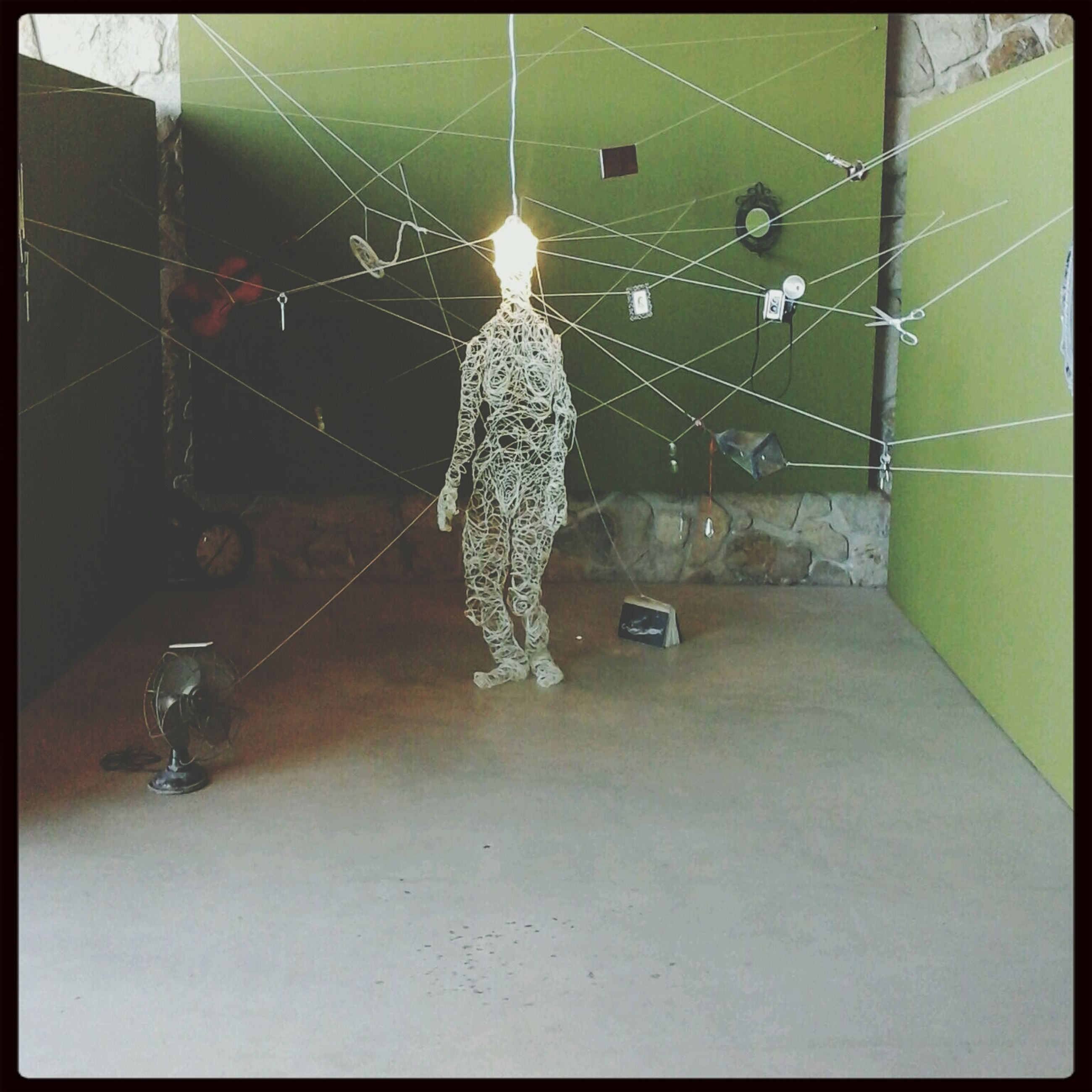 transfer print, auto post production filter, indoors, animal themes, night, illuminated, hanging, one animal, full length, spider web, built structure, no people, wall - building feature, decoration, lighting equipment, close-up, spider, architecture