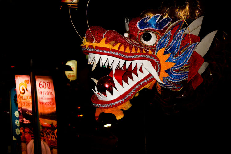 Chinse dragon head - Bangkok Representation Art And Craft Animal Representation Chinese Dragon Multi Colored No People Creativity Dragon Architecture Low Angle View Illuminated Festival Night Craft Built Structure Celebration Lighting Equipment Chinese New Year