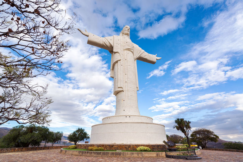 Largest statue of Jesus Christ in the world, the Cristo de la Concordia in Cochabamba, Bolivia America Architecture Art Blue Bolivia Christ Cochabamba Concordia Cristo Cross Day Face God Hill Jesus Latin Monument Outdoors Redeemer Religion Sky South Statue Tall White