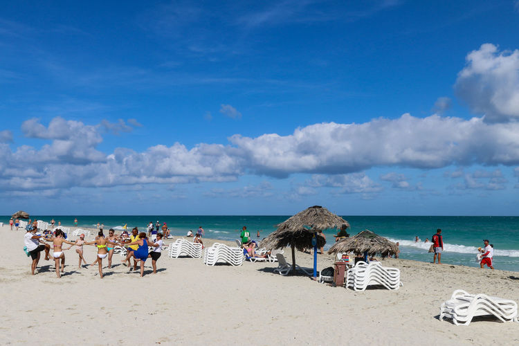 Animation Cuba Cuba. Varadero Varadero Activity Beach Blue Chaise Lounge Cloud - Sky Day Horizon Over Water Large Group Of People Nature Ocean Outdoors People Real People Resort Sand Sea Sky Umbrella Vacation Vacations Water