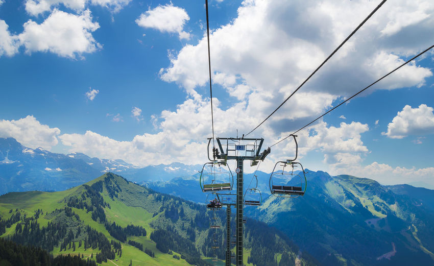 Ski Lifts Against Alps