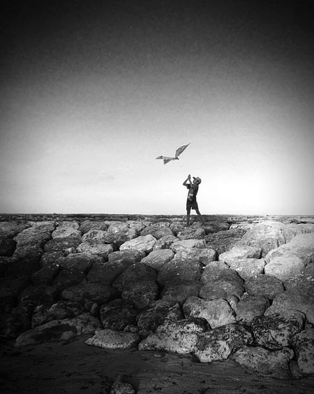 Child with his kite Sea Beach Water Nature Real People Sky Playing Happiness Day Kid Outdoors Childhood Monochrome Horizon Land Carefree Blanckandwhite Bali, Indonesia One Person Horizon Over Water Black And White Bali Sanur Jetty Pier Kite
