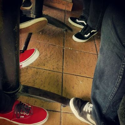 Don't people wear decent shoes these days? Vans Allthecoolkidswearvans Skateboarders Motorcyclebuddies FTW