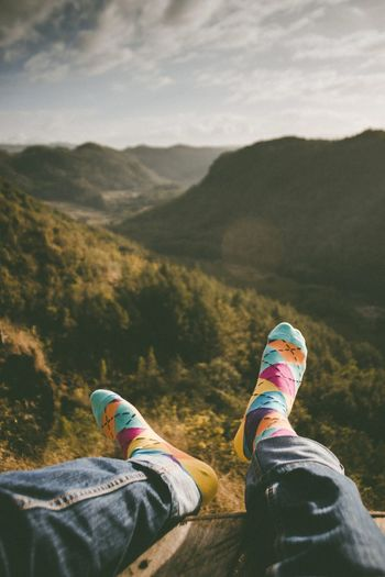Wearing colorful socks and enjoy the beautiful view in the morning