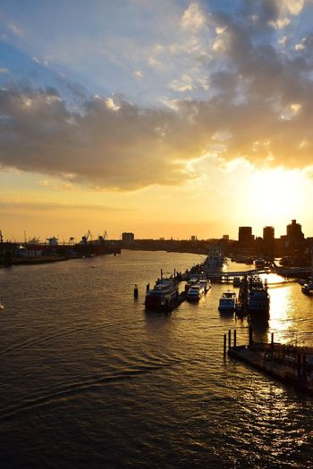 Nature River Elbe ♥️ Beauty In Nature Sunlight Sunshine ☀ Day Outdoors Focus On Foreground City Water Nautical Vessel Sunset Silhouette Urban Skyline Reflection Dusk River Sky Boat Harbor Ship Shipyard Marina