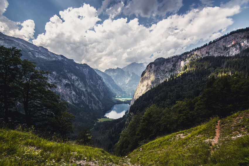 Obersee near Berchtesgaden Panorama Angle Bavaria Beautiful Berchtesgaden Berchtesgadener Land  Clouds Germany Hiking Koenigssee Lake Mountains Obersee Outdoor Path Sky Tree Trees Trees And Sky Ultra Wide Angle Ultrawideangle Valley Vintage Been There. The Great Outdoors - 2018 EyeEm Awards The Traveler - 2018 EyeEm Awards