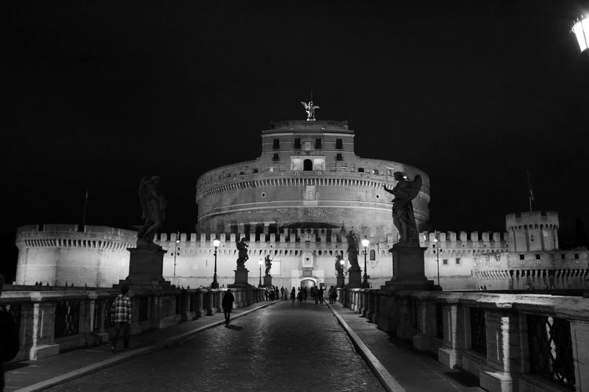 Rom, Engelburgs, Castle Sanct Angelo and Ponte Angelo Angels Architecture Blackandwhite Building Exterior Built Structure Castle Sant'angelo City City Gate Façade History Illuminated Italy Night No People Outdoors Ponte Angelo Roma Sky Tourism Travel Destinations Welcome To Black EyeEm Diversity Break The Mold Art Is Everywhere TCPM EyeEmNewHere Neighborhood Map Live For The Story Place Of Heart Black And White Friday Be. Ready.