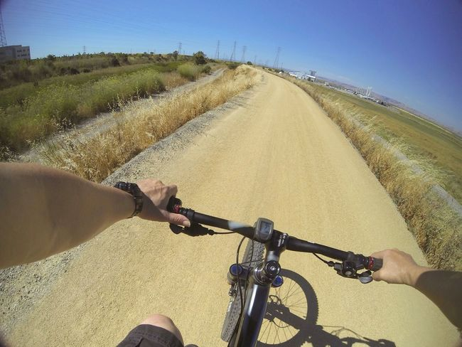 seek the horizon Bike Bicycle MTB Mountainbike POV Perspective Clear Sky Outdoors Copy Space Blue Sky Human Hand Riding Cycling Handlebar Personal Perspective Sky Human Body Part Leisure Activity Lifestyles Nature Whatever No Budget Photography Gopro Sommergefühle