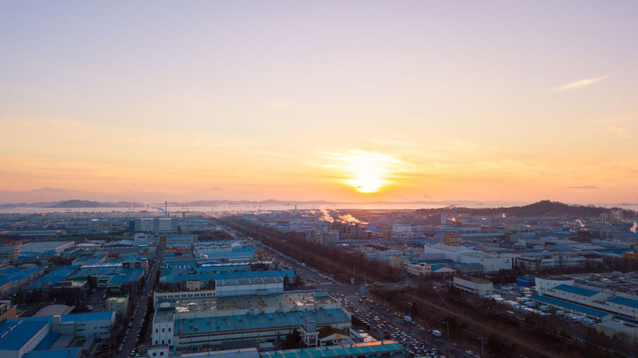 City Incheon Industrial Industry Korea Apartment Business Finance And Industry Park Sea Sunset
