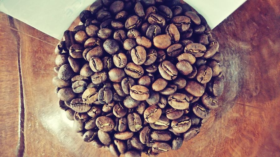 High angle view of roasted coffee beans