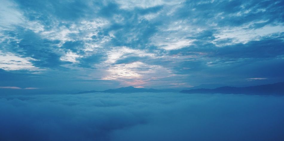 sea of fog Landscape Betong Thailand Sea Of Fog Cloud - Sky Beauty In Nature Sky Tranquility Tranquil Scene Scenics - Nature Water Nature Idyllic Blue No People Cloudscape Outdoors Day Environment Dramatic Sky Heaven Backgrounds Meteorology Sea