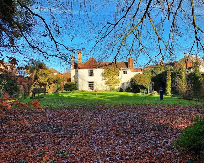 Country house garden Country Garden Country House Blue Sky Autumn Architecture Built Structure Building Exterior Tree House Change Beauty In Nature Bare Tree Leaf Outdoors Grass No People Sky Scenics Nature