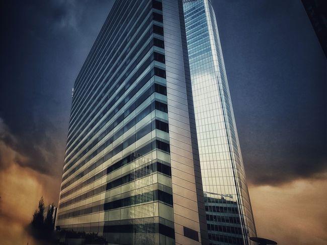 Sunset Futuristic Business Sky Storm Cloud Financial District  Cityscape Skyline