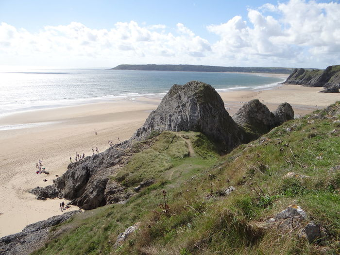 Beach Beauty In Nature Charity Walk Cloud - Sky Day EyeEmNewHere Grass Horizon Over Water Landscape Nature Outdoors People Rock - Object Sand Scenics Sea Shore Sky Spuren Im Sand Three Cliffs Bay Traces In The Sand Tranquil Scene Tranquility Water Gower Peninsula