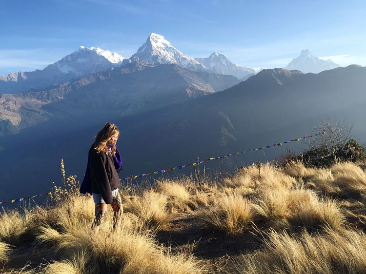 View Trekking Travel Nepal Mountains Woman Nature Travel Photography Hiking Instagood Travelling Girl Travelgram Sky Snow Trek Mountain Annapurnacircuit Annapurna Adventure Club