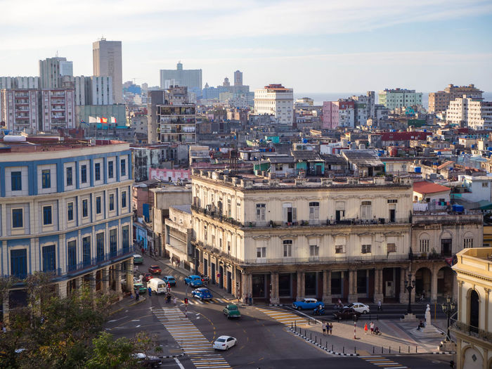 City view in the evening sun. old colorful buildings in havana, cuba