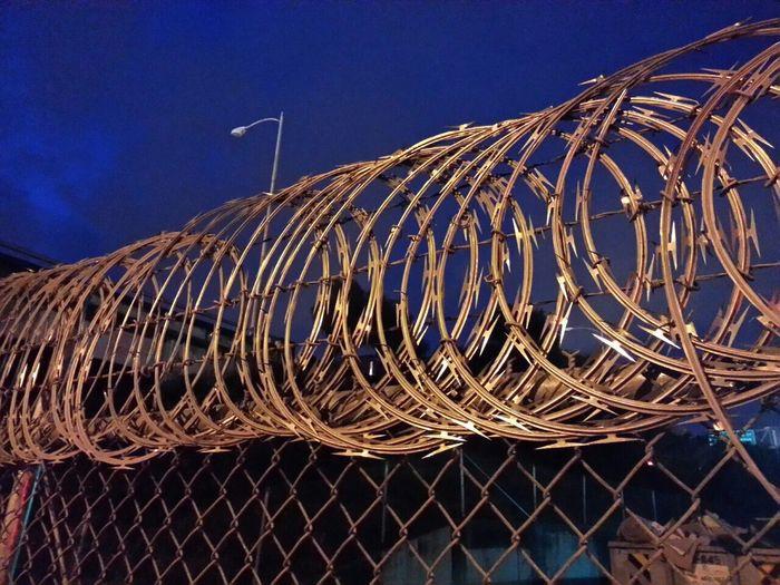 Razorwire Concertina Wire Fence Nighttime In The Neighborhood Bayview San Francisco Night Sky Cobalt Blue By Motorola