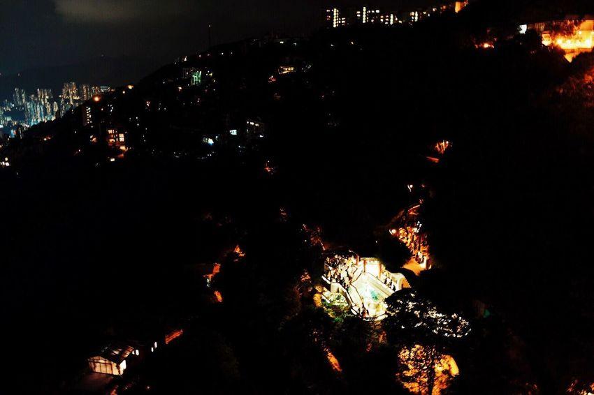 Night Illuminated Low Angle View Outdoors Tree City No People Sky Cityscape Hong Kong Peak