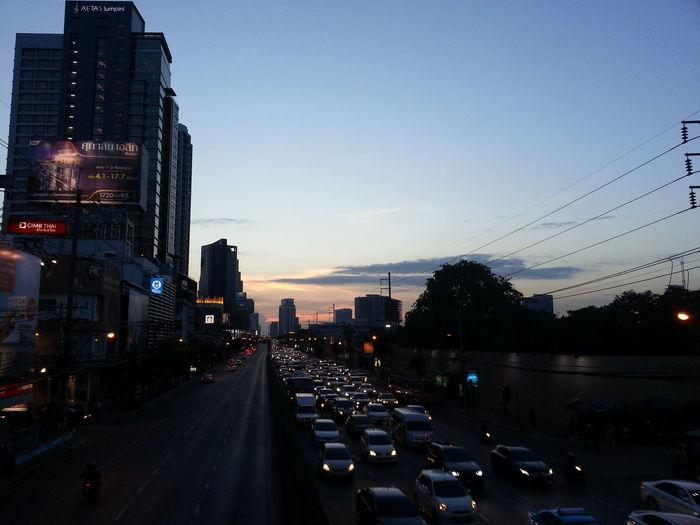 Trafficjam Bonkai Rama4rd. Roads BKK, TH, Thailand