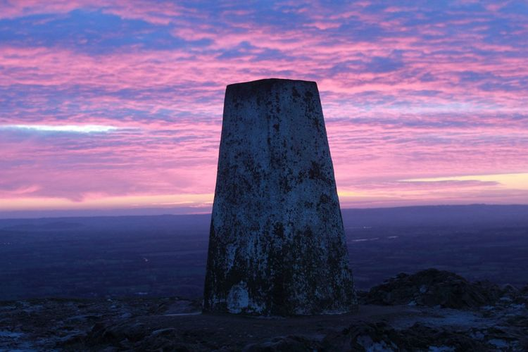 Sunrise Malvern Hills Trig Point Pink View Miles Away