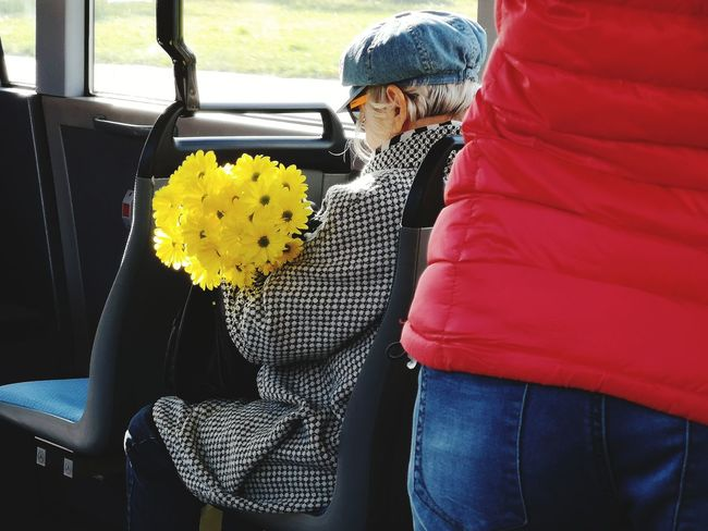 Lady with the flowers in the bus Women Close-up Flower Head Sunflower