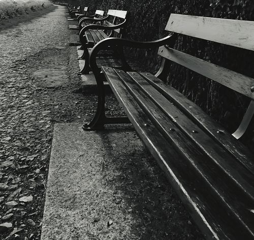 Which Bench !?! Outdoors Day No People Reflections And Shadows Park Benches Monochrome Photograhy Monochrome Parkbench Parkbenches Benches Rowofchairs Row Of Benches Rows Of Things Blackandwhite Daytime Black & White Landscape