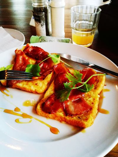French toast and bacon for breakfast @91loop Food Bacon Capetown South Africa Ready-to-eat