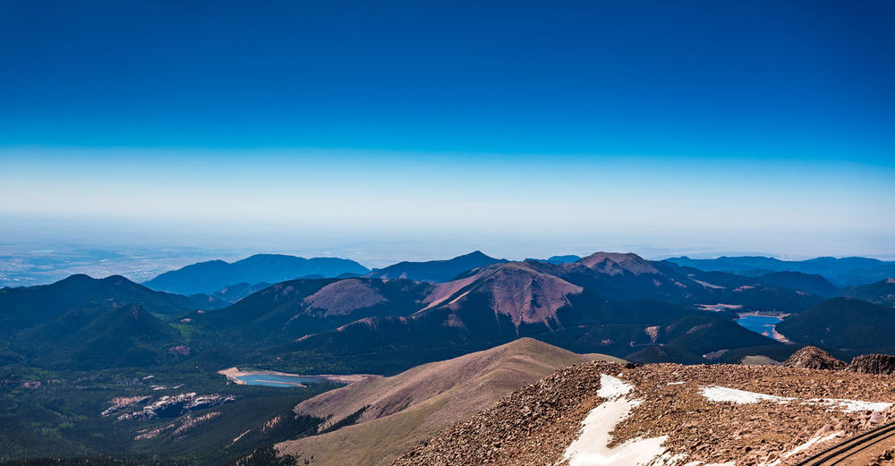 Pikes Peak is the highest summit of the southern Front Range of the Rocky Mountains. The ultra-prominent fourteener is located in Pike National Forest, 12 miles west of downtown Colorado Springs. The mountain is named in honor of American explorer Zebulon Pike, and is higher than any point in the United States east of its longitude Colorado Colorado Photography Pikes Peak In Colorado America Beauty In Nature Blue Clear Sky Day Landscape Mountain Mountain Range Nature No People Outdoors Pikes Peak Road Scenics Sky Southwest  Southwestern Southwestern Usa Tranquil Scene Tranquility