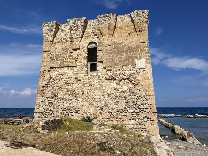 Built Structure Sky Architecture Sea Building Exterior History Water The Past Nature Solid Day Rock Building Rock - Object Land Old Tower No People Horizon Over Water Outdoors Stone Wall Torre Di San Vito Anticorsara Difensiva Adriatic Sea
