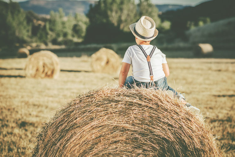 Rear view of boy sitting on hay bale at agricultural field