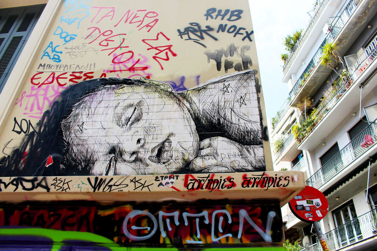 Art Athens Athens, Greece Building City Day Graffiti Greece Low Angle View No People Sleeping Child Street Art Street Art/Graffiti Streetart Streetphotography Urban Urbanphotography