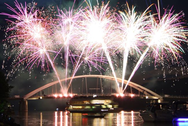 Donau in Flammen 🔥 // Donau on fire 🔥 in Vilshofen, Germany Night Illuminated Bridge - Man Made Structure Celebration Long Exposure Arts Culture And Entertainment Connection Firework Display River Event Water Outdoors Architecture No People Sky