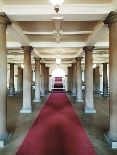 City Architectural Column Luxury Hotel Symmetry Red Luxury History Corridor Architecture Built Structure