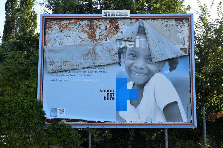 Advertisement Posters Billboard Blue Children Kindernothilfe Outdoors Poster