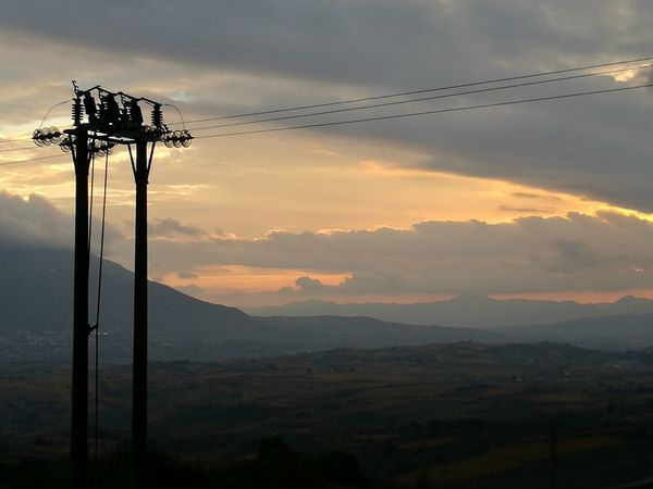 Sunset Cloud - Sky Mountain Cable Power Line  Electricity Pylon Rural Scene Day No People Tranquility Nature Sky Outdoors Landscape Lost In The Landscape EyeEm Best Shots HuaweiP9 Sannio
