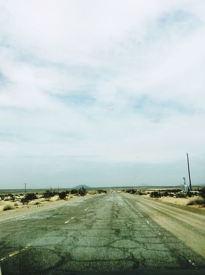 In the middle of Nowhere Yermo Road Yermo California USAtrip On The Road California Dreamin USA Sky Cloud - Sky Road Transportation Nature No People The Way Forward Day Direction Beauty In Nature Environment Scenics - Nature Tranquil Scene Landscape Tranquility Diminishing Perspective