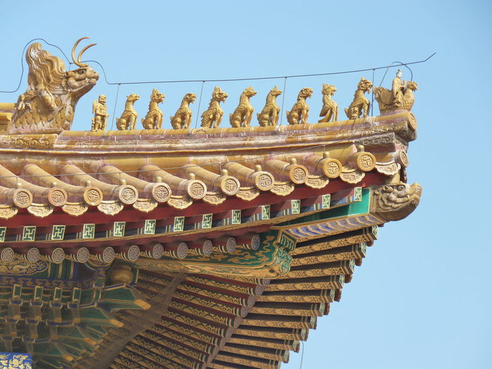 Low angle view of temple against clear sky