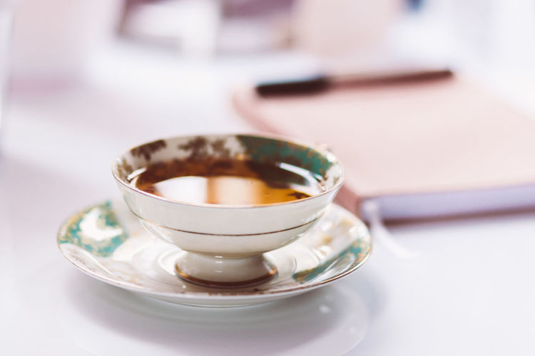Close-up of tea in cup