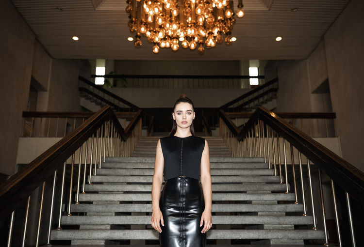 Black Widow Black Dress Latex Dress  Linas Was Here Old School Stairs Beauty Brunette Chamber Chandelier Hall Interior Model Post Soviet The Modern Professional