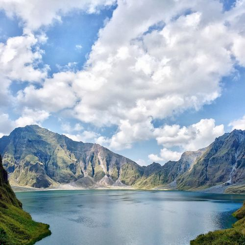 Mt Pinatubo crater lake in the Philippines Mountain Scenics Beauty In Nature Lake Outdoors IPhoneography What A View Tranquility No People Crater Lake Majestic Nature The Great Outdoors - 2017 EyeEm Awards Sky And Clouds Cloud