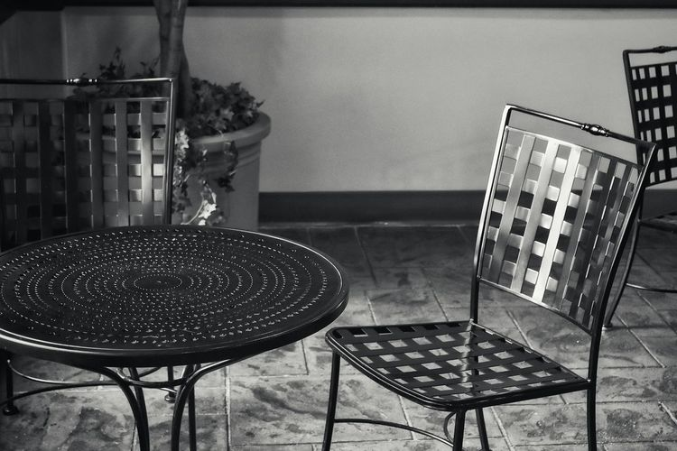 Absence Black And Whig Close-up Day Empty Focus On Foreground Furniture Metal Furniture No People Shadow And Light Still Life