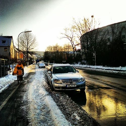 Winter Snow Sky Postman street sidewalk reflection tree car bicycle
