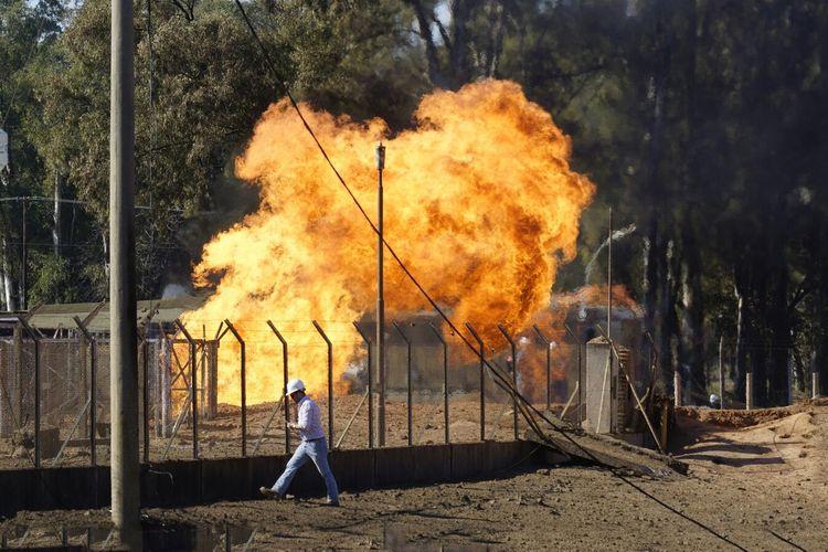 Fire burning in yard